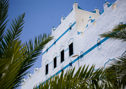 White Al Hawatha Hotel Decorated With Light Blue Paintings, Shibam, Yemen