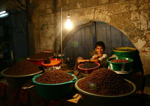 Smiling Boy Selling Dry Fruits In The Souq, Al Hodeidah, Yemen