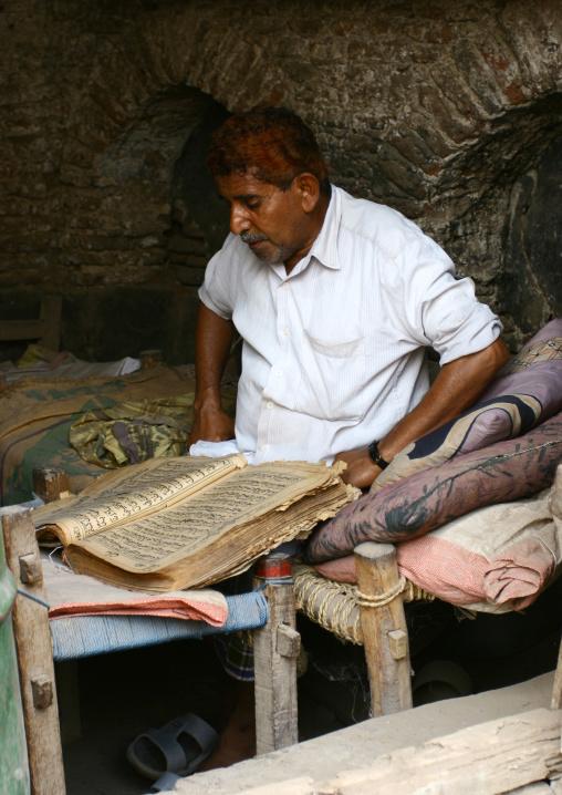 Man With Henna Hair Reading The Quran, Zabid, Yemen