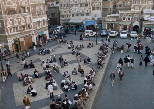 Men Gathered On A Square, Sanaa, Yemen