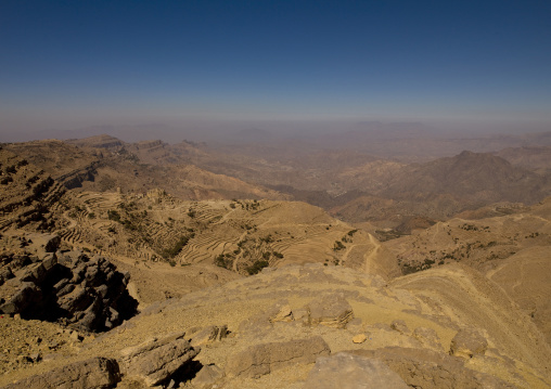 Dry Landscape And Terrace Cultivation, Hababa, Yemen