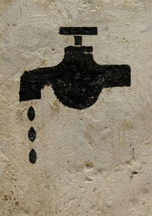 Leaking Tap Painted On A Wall, Mocha, Yemen
