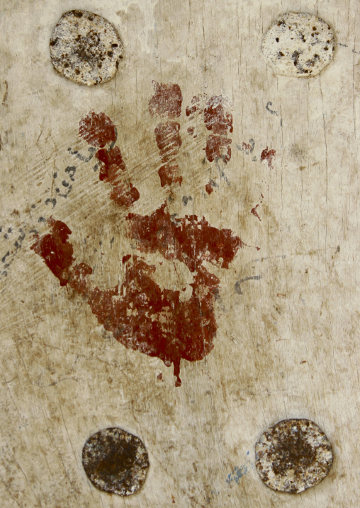 Red Hand Print On A Wall To Protect Against The Evil Eye, Zabid, Yemen