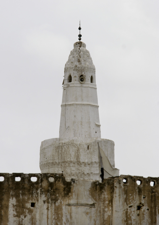 White Minaret Of A Mosque In Zabid, Yemen