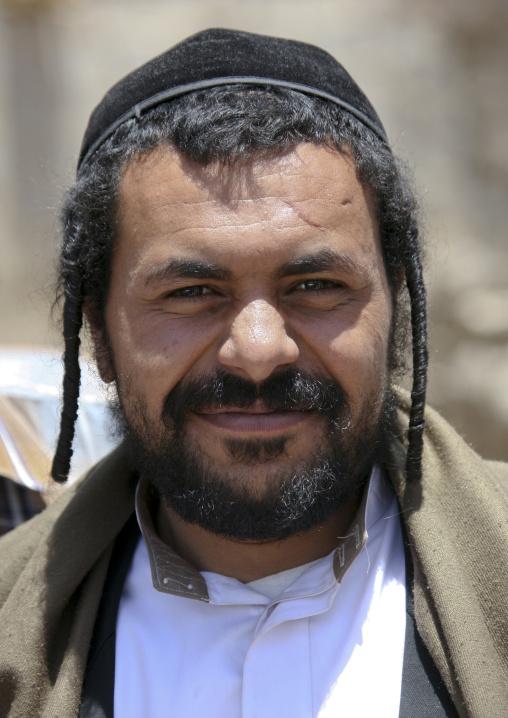 Jewish Man With Traditional Braids Smiling At The Camera, Amran, Yemen