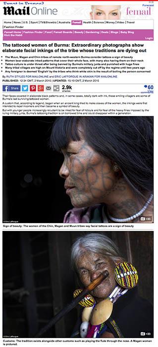 Daily Mail - Tattooed women of Burma