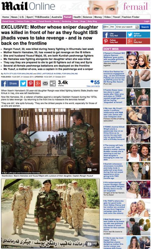 Daily Mail - Peshmerga woman