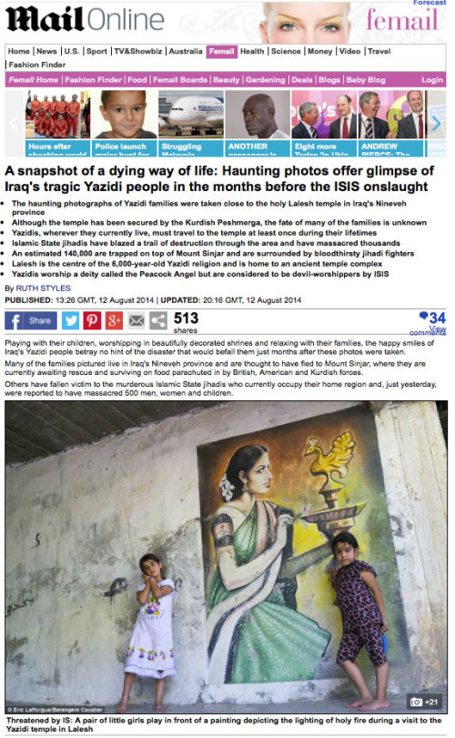 Daily Mail - Yazedis people