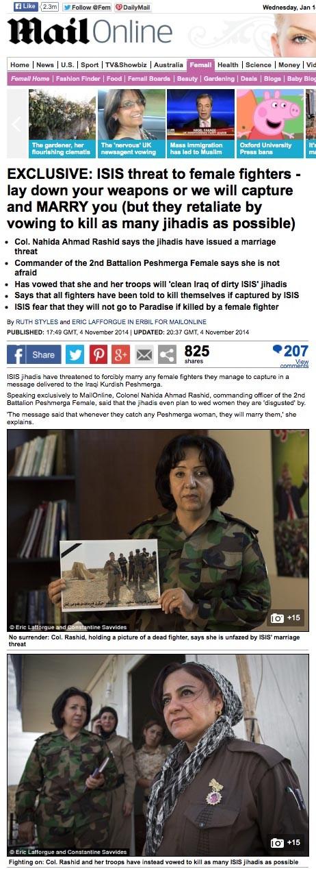 Daily Mail - Peshmerga woman 2